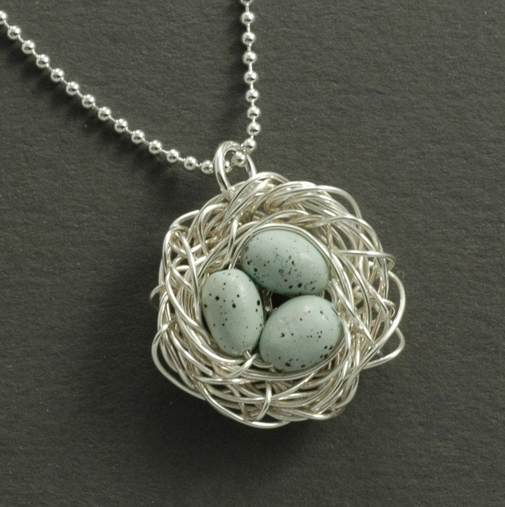 bird nest necklace with blue robin eggs