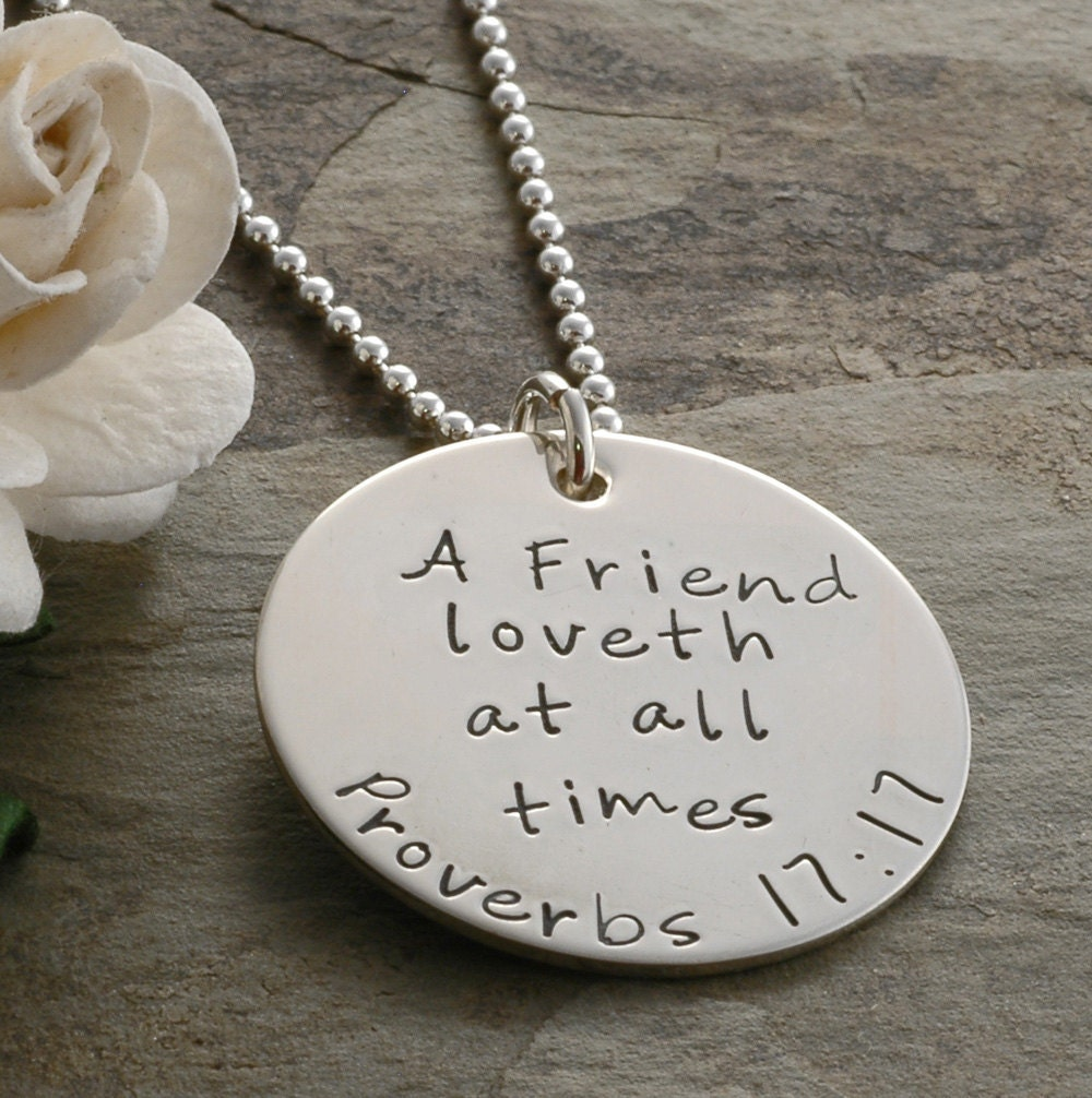 Friendship Quotes Jewelry: Best Friends Necklace Proverbs 17:17 A Friend Loveth At