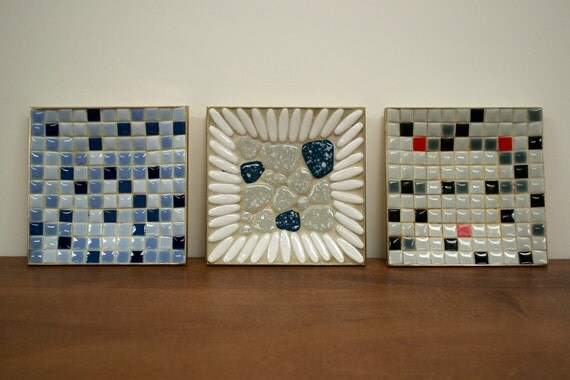 Three Mid Century Modern Mosaic Tile Trays