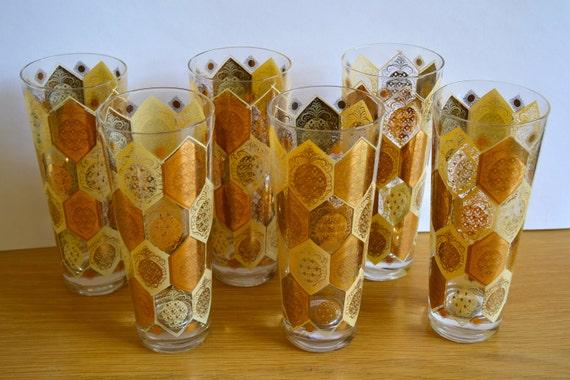 Vintage Eames Era Gold and Cream Pineapple Bar Glasses