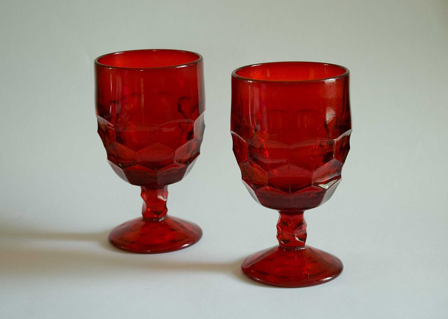 Vintage Pair Of Ruby Red Glass Goblets