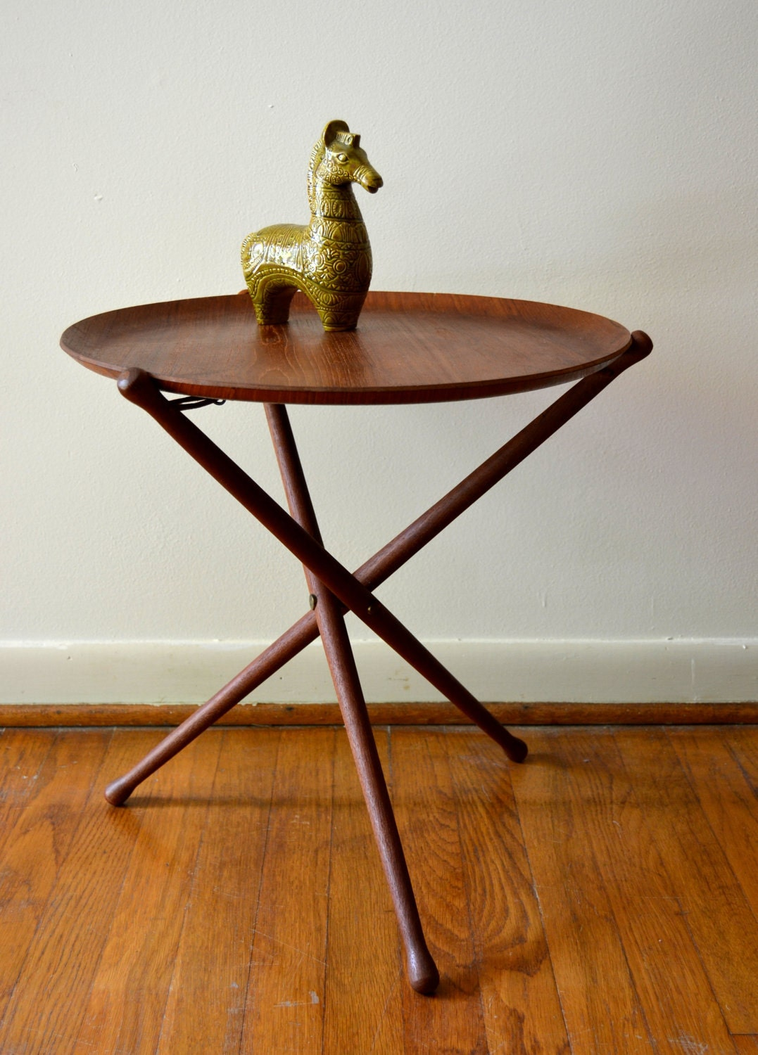 Mid Century Scandinavian Teak Folding Tray Table