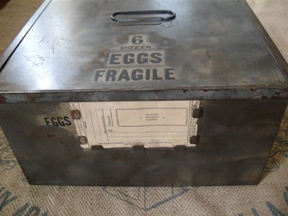 Vintage metal egg shipping crate box for Metal shipping crate