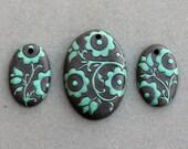 Jade Lace - Set 061 - Dark Ovals Pendants
