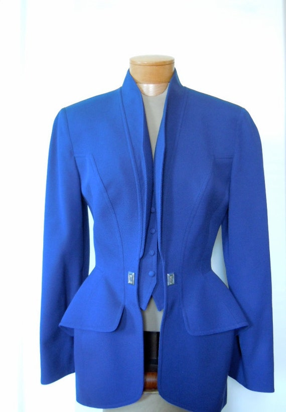 SALE Amazing Thierry Mugler 1980s Fin Trompe l'Oeil Hourglass Jacket 42, Navy Blue, US 6-8