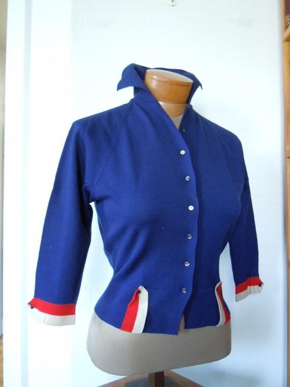 1950s Nipped Waist Bombshell Wool Cardigan Sweater, S, Italy