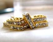 Elegant A Grade Rhinestone 10mm Gold Plated Square Squaredelle Rondelle Spacer Beads, pkg 7
