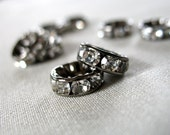 18pc Clear Crystal A Grade Rhinestone Gunmetal  Rondell Spacer Beads, not AB, 10mm diameter, pkg. 18