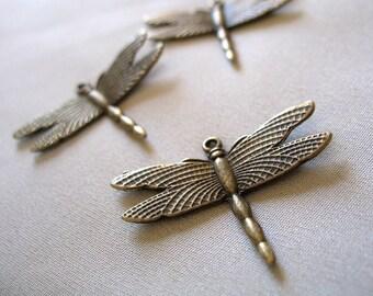 3 Antiqued  Bronze Pewter Dragonfly Pendants, pkg of 3