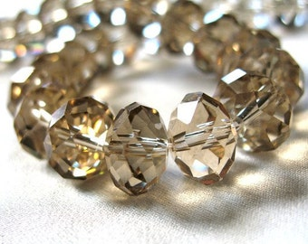 "12mm Champagne Crystal Rondell Faceted Beads, large 12mm x 10mm, full 12"" strand,"