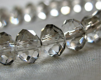"16"" strand, 8mm Elegant Gray Faceted Crystal Rondell Beads with Silver Flash, 8mm x 6mm, 66 pieces"
