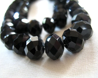 "12mm Classic Black Faceted Crystal Rondell Beads, 12mm x 9mm, full 12"" strand, 36 pieces"