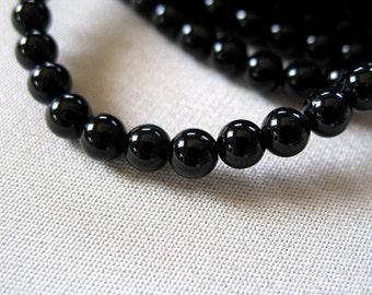 ONLY 1 LEFT Black Onyx Round Beads, 4mm, full strand