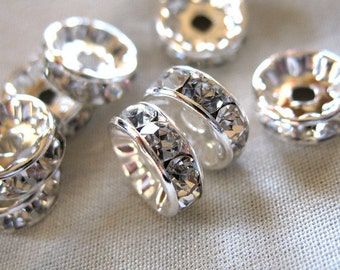 20 pieces 8mm Clear Crystal A Grade Rhinestone Silver Plated Rondelle Spacer Beads, pkg 20