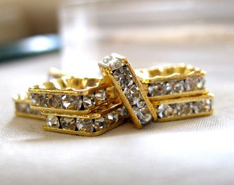 Elegant A Grade Rhinestone 10mm Gold Plated Square Squaredelle Rondelle Spacer Beads, pkg 7