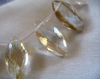 Golden Hair Faceted Clear 'Quartz' Marquis shaped Pendants, 20mm tall x 10mm wide. package of 3