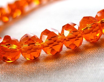 """6mm Fiery Orange faceted rondelle crystal beads, 6mm x 4mm, 50 pieces, 8"""" strand"""