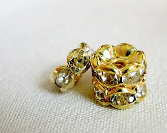 Clear Crystal A Grade Rhinestone Gold Rondell Spacer Beads, not AB, 7mm diameter, pkg 12