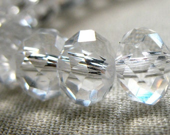 "SPECIAL Price on TWO Strands Clear Crystal Faceted Rondelle Beads, not AB, 8mm x 6mm, 8"" Strands, 35 pieces each strand, 70 total"