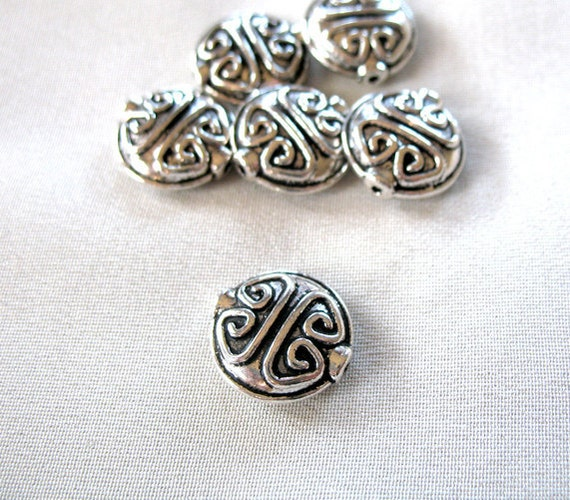 6 large Antiqued Silver Plated Pewter Bold Pattern Coin Spacer Beads, 15mm diameter, 6mm thick, package of 6 ONLY ONE pkg. LEFT