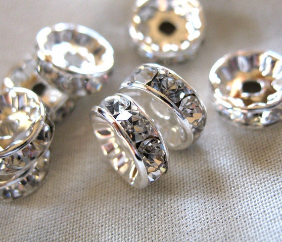 RESERVED for S  THREE PKG. 8mm Clear Crystal A Grade Rhinestone Silver Plated Rondelle Spacer Beads, pkg 10