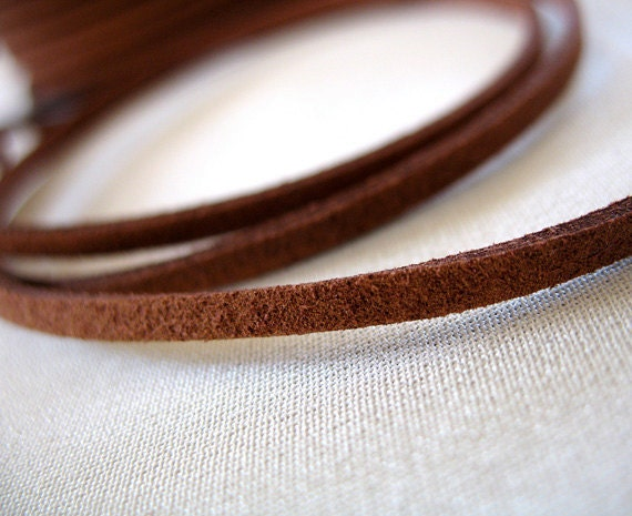 Rich Brown Faux Suede Flat Necklace Stringing Cord, 2.5mm wide, 0.5mm thick, 12 feet length (4 yards)