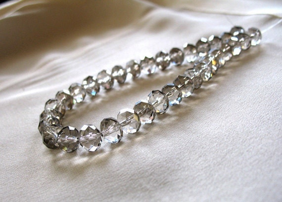 "RESERVED for V Smoky Gray with Silver Flash Faceted Crystal Rondell Beads, 10mm x 8mm, full 10"" strand, 34 pieces"