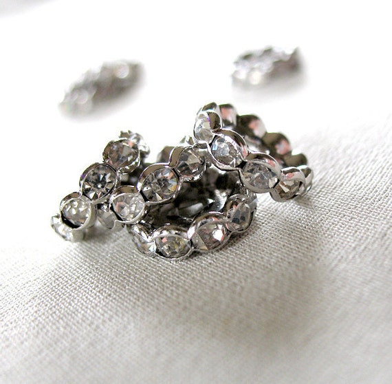 12mm Clear Crystal A-Grade Rhinestone Silver tone Spacers Rondelles,  Large 12mm diameter, not AB, pkg of 14