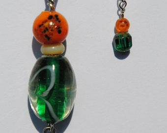 Leather Necklace with Green Glass Focal Bead and Goddess Dangle Charm