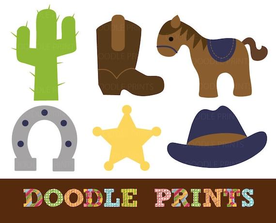 Digital Clip Art Printable Cowboy Western Clipart Design