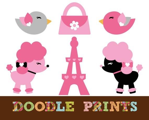 Digital Clip Art Printable - Paris Poodle Design - Poodle Dog, Eiffel Tower, Birds - French Clipart