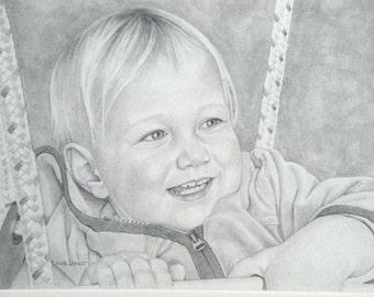 Custom drawing pencil portrait commission child