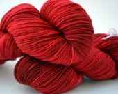 Fierce, fiery red merino sock, fingering weight yarn, soft and vibrantly colored semisolid crimson, red, brick, garnet, ruby- LANNISTER