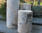 "6 setsof 3  Birch Bark Candle Holders 6"", 5"", 4"" a total of 18 Birch Candles WEDDING CENTERPIECES"