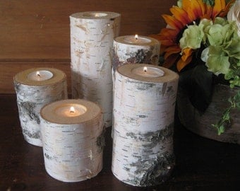 Birch Candle Holders Home Decor Wedding Centerpiece Rustic Wood Logs White Birch Interios Design
