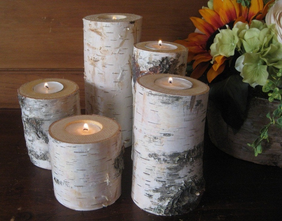 Birch Candle Holders Home Decor Wedding by MyGardenGate on