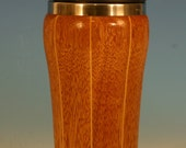 Mahogany With Birch Accents Wooden Travel Mug with Stainless Steel Insert and Sliding Sipper Top
