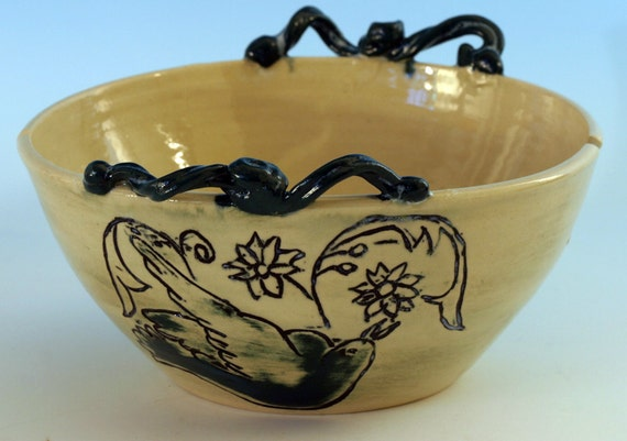 Peace Dove Yarn Bowl with Two Yarn Niches