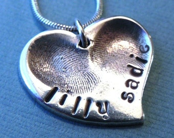 Fingerprint Jewelry Silver Personalized Medium Heart - Childrens Fingerprints/Valentine's Day Gift for Mom