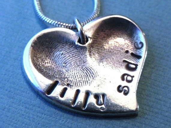 Fingerprint Jewelry Silver Personalized Medium Heart - Childrens Fingerprints for Mom -Valentine's Day Gift for Mom