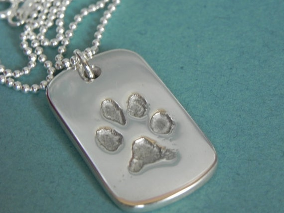 Your Dog or Cat's Paw Print in Silver Pendant-Father's Day gift