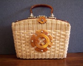 Vintage 1960s Straw Handbag with Tortoise Shell Handle and Accents