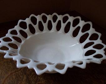 Vintage Westmoreland Milk Glass Doric Large Folded  Bowl with Lace Edge