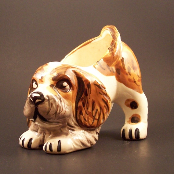 Mid-century Grantcrest Ceramic Dog Planter