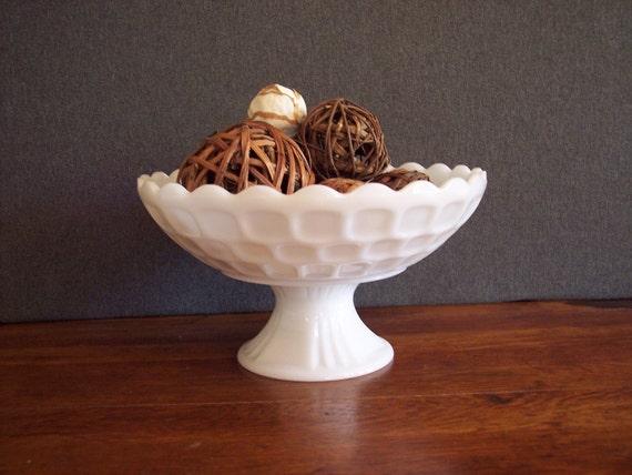 Vintage Mid Century Milk Glass Thumbprint Pedestal Compote Bowl