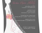 PRINTABLE - Bridal Shower Invitation - Elegant Bride Silhouette - Custom colors to match the wedding theme