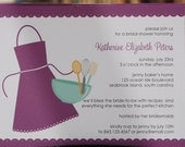 """PRINTED - Bridal Shower Invitation - Set of 25 (4"""" x 5.5"""") Kiss the Cook"""