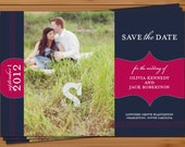 PRINTABLE - Wedding Save the Date Photo Card with Post Card Back - Custom colors to match your wedding