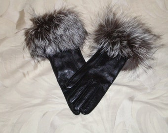 Leather Gloves with Silver Fox Fur Trim
