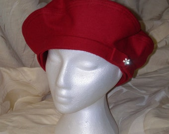 Red Wool and Cashmere Beret